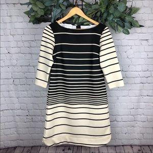 Donna Morgan Beige and Black Striped Dress
